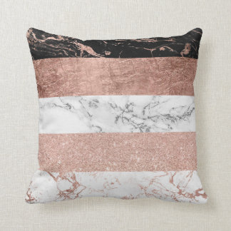 Modern chic color block rose gold marble stripes throw pillow