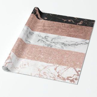 Modern chic color block rose gold marble stripes wrapping paper