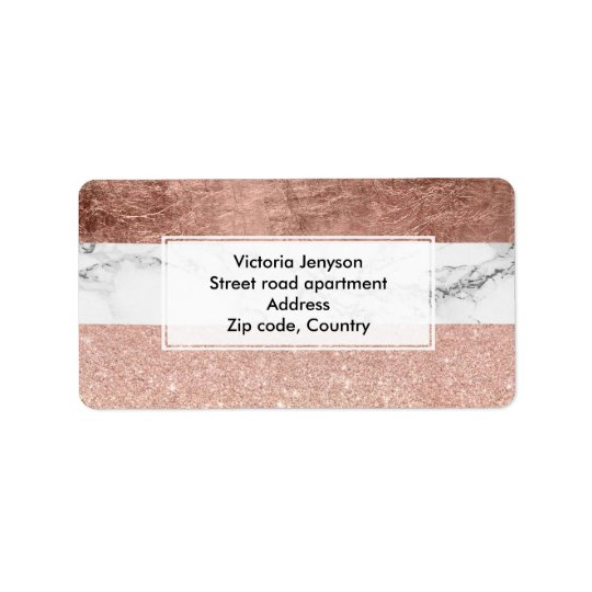Modern chic colour block rose gold marble stripes label