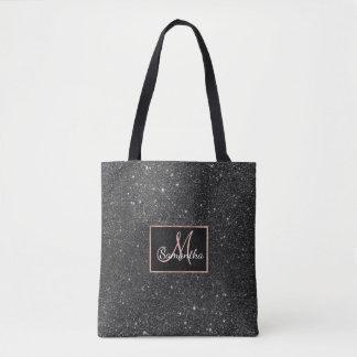 Modern chic elegant trendy faux black glitter tote bag