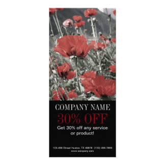 modern chic fashion florist red poppy flower rack card design