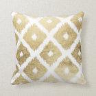 Modern chic faux gold leaf ikat pattern cushion