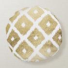 Modern chic faux gold leaf ikat pattern round cushion