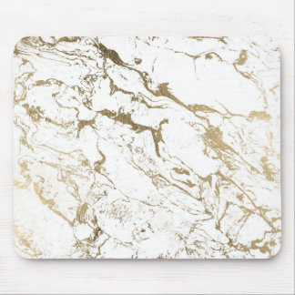Modern chic faux gold white marble pattern mouse pad