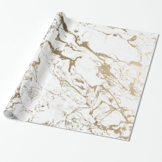 Modern chic faux gold white marble pattern wrapping paper