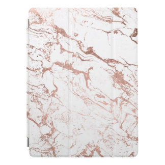 Modern chic faux rose gold elegant white marble iPad pro cover