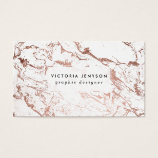 Modern chic faux rose gold white marble business card