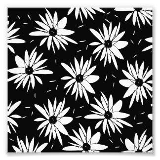 Modern chic floral black and white daisy pattern photo print