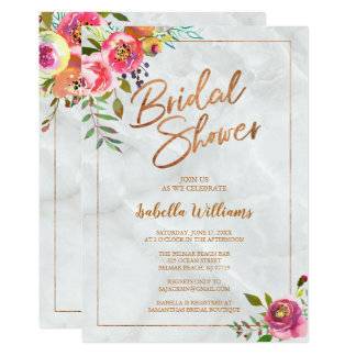 Modern Chic Floral Copper Marble Bridal Shower Card