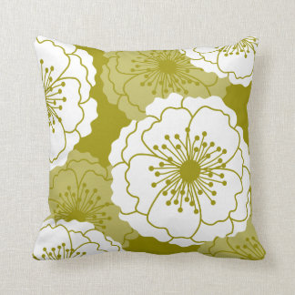Modern Chic Flower Silhouettes | Avocado Green Throw Pillow