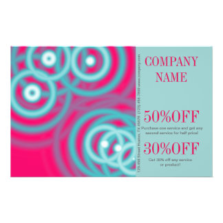 modern chic fuschia aqua blue abstract flyer