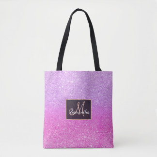 Modern chic girly purple pink glitter ombre tote bag