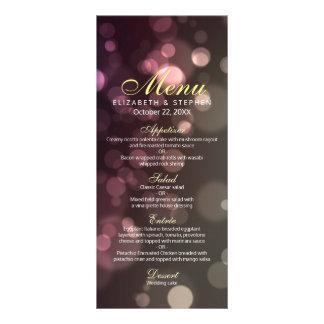 Modern Chic Glitter Bokeh Sparkle Wedding Menu Custom Rack Cards