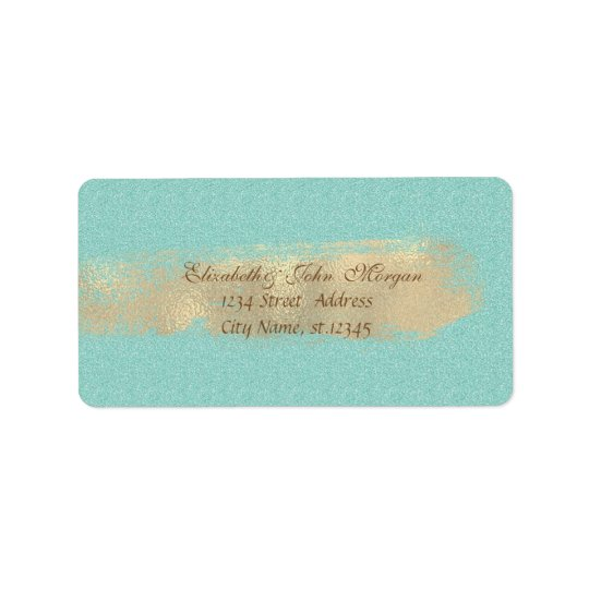 Modern Chic Glittery,Faux Gold Brush Stroke Label