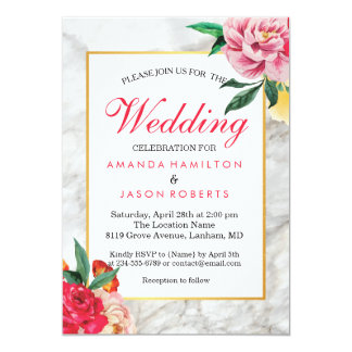 Modern chic gold marble Floral Peony Wedding Card