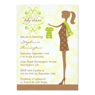 Modern chic green and brown baby shower invitation