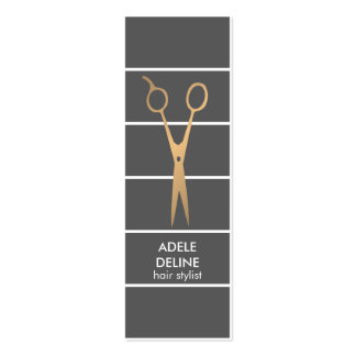 Modern Chic Grey Copper Scissor Hair Stylist Pack Of Skinny Business Cards
