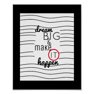 modern chic inspirational quote poster dream big