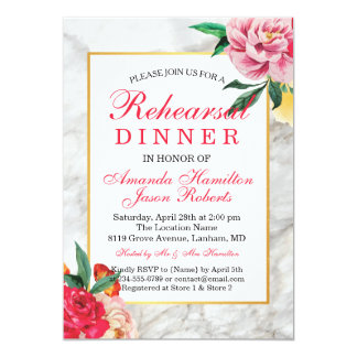 Modern CHIC MARBLE Floral Peony Rehearsal dinner Card