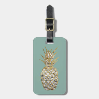 Modern Chic Marble Gold Pineapple Fruit Luggage Tag