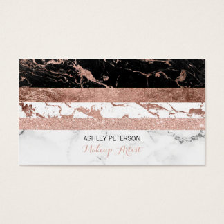 Modern chic marble rose gold stripes Makeup Business Card