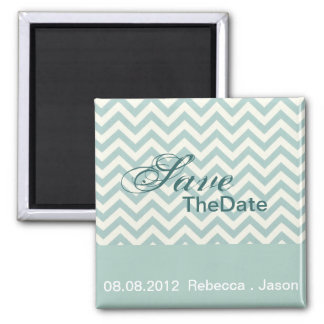 modern chic mint chevron wedding save the date square magnet