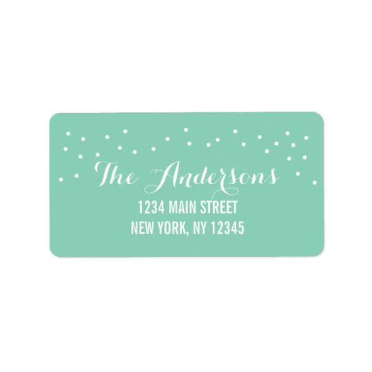Modern Chic Mint Green and White Dots Label