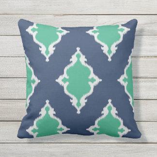 Modern chic navy blue and green ikat pillow
