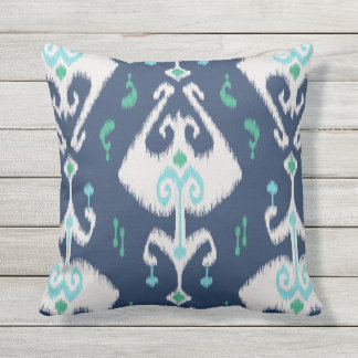 Modern chic navy blue and white ikat pillow
