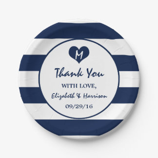 Modern Chic Navy Blue and White Wedding 7 Inch Paper Plate