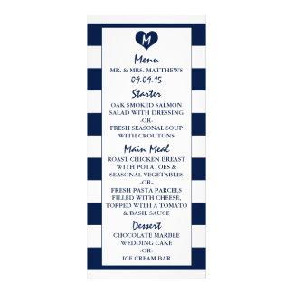 Modern Chic Navy Blue & White Wedding Menu Personalized Rack Card