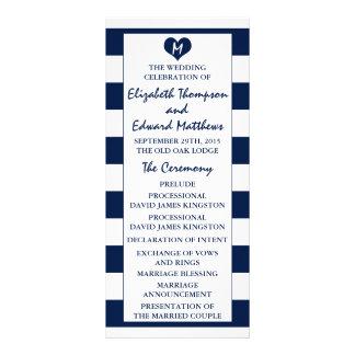 Modern Chic Navy Blue & White Wedding Program Rack Card Template
