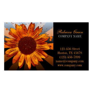 modern chic orange sunflower florist business card templates