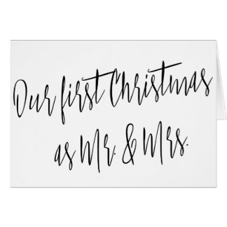 "Modern Chic ""Our First Christmas as Mr. & Mrs."" Card"
