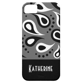 Modern Chic Paisley Pattern Custom Monogram Case For The iPhone 5