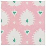 Modern chic pastel pink green ikat pattern fabric