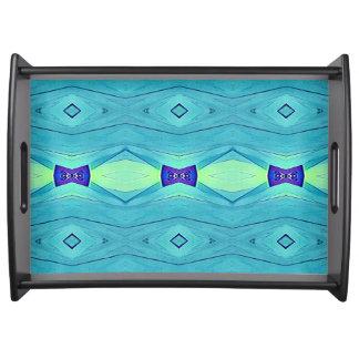 Modern Chic Pastel Teal Blue Purple Pattern Serving Tray