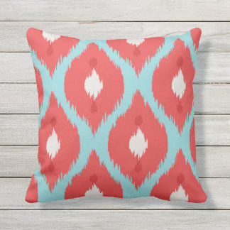Modern chic red turquoise ikat pillow