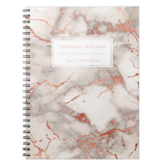 modern chic rose gold marble notebooks