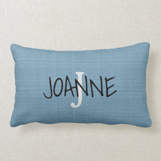 Modern Chic Rustic Blue Monogram name faux burlap Lumbar Cushion