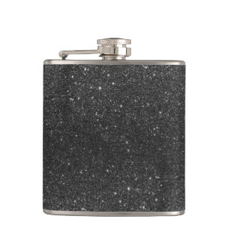 Modern chic stylish trendy faux black glitter hip flask