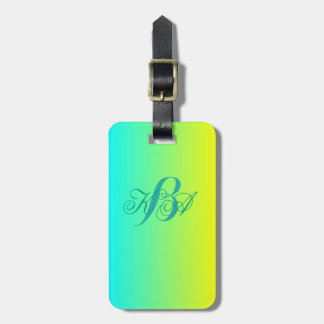 modern chic turquoise yellow green ombre monograms tag for bags