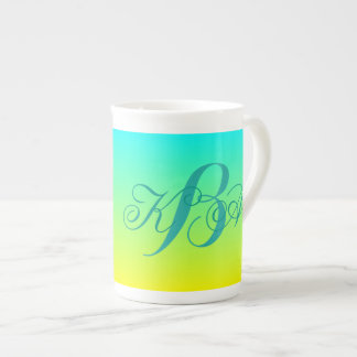 modern chic turquoise yellow green ombre monograms tea cup