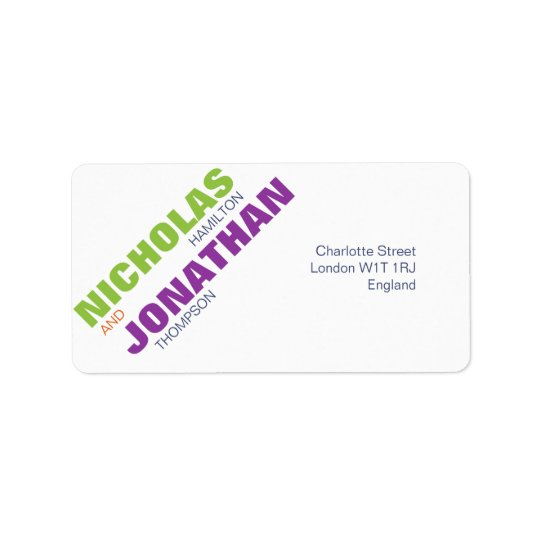 Modern Chic Typography Gay Wedding Address Label