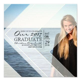Modern & Chic White Graphic Overlay   Graduation 13 Cm X 13 Cm Square Invitation Card