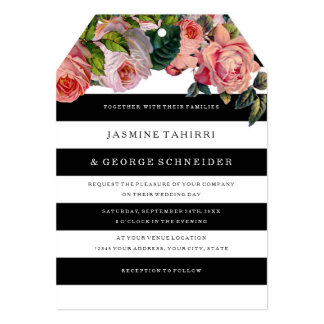 MODERN Chic Wide Stripes w Vintage Roses Floral 13 Cm X 18 Cm Invitation Card