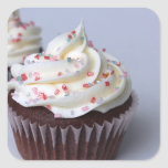 Modern Chocolate Cupcakes Sprinkle Frosting Square Stickers