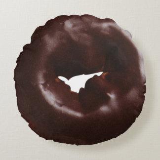 Modern Chocolate Glazed Fun Novelty Donut Round Cushion