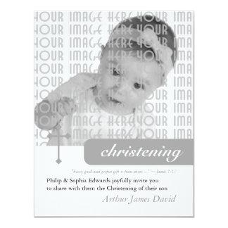 Modern Christening or Baptism 11 Cm X 14 Cm Invitation Card