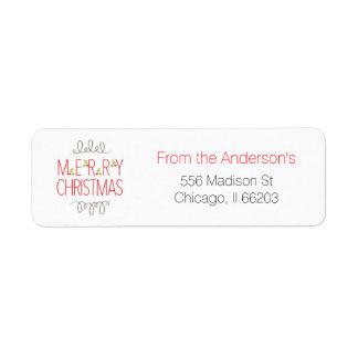 "Modern Christmas Address Label ""Merry Christmas"""